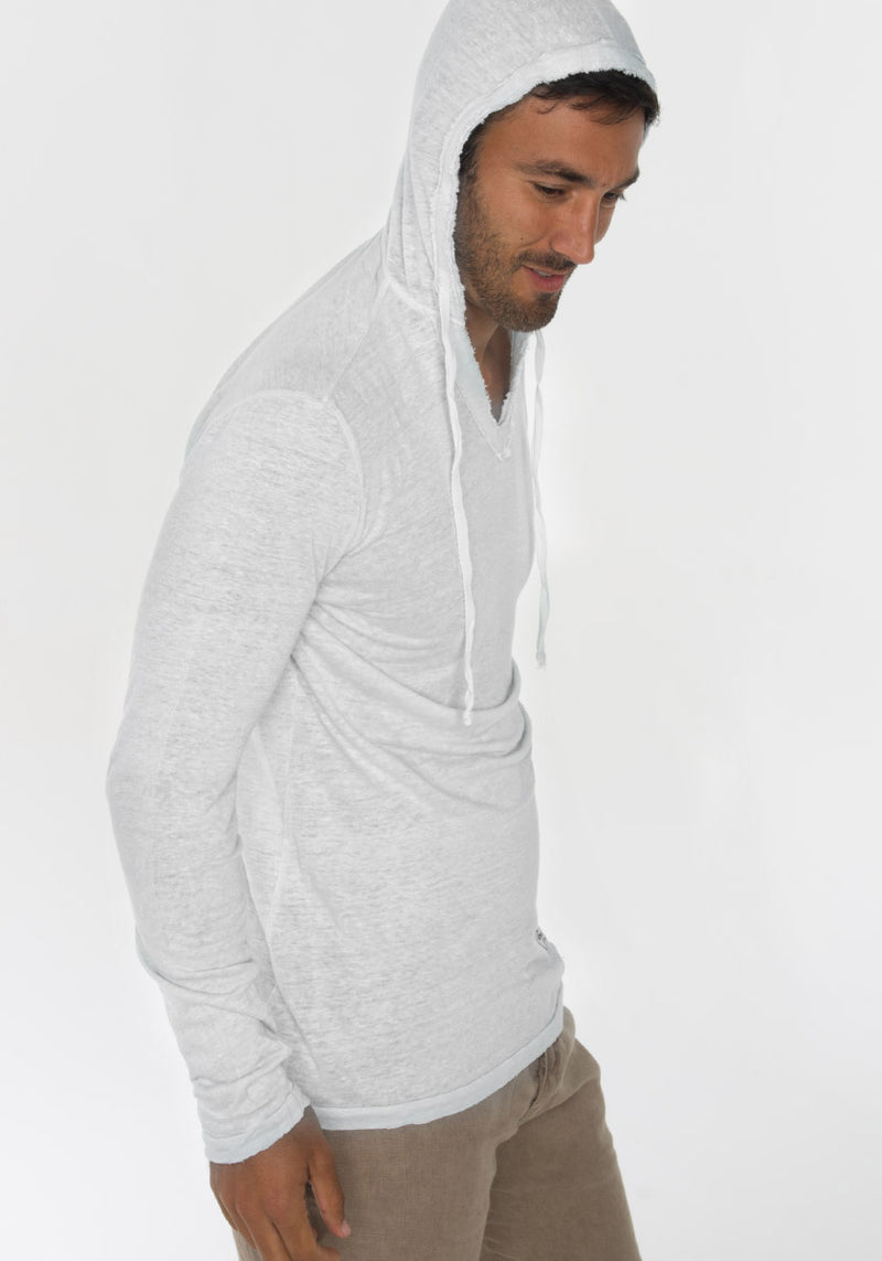 JERSEY LINEN FITTED LONG SLEEVE HOODIE T-SHIRT