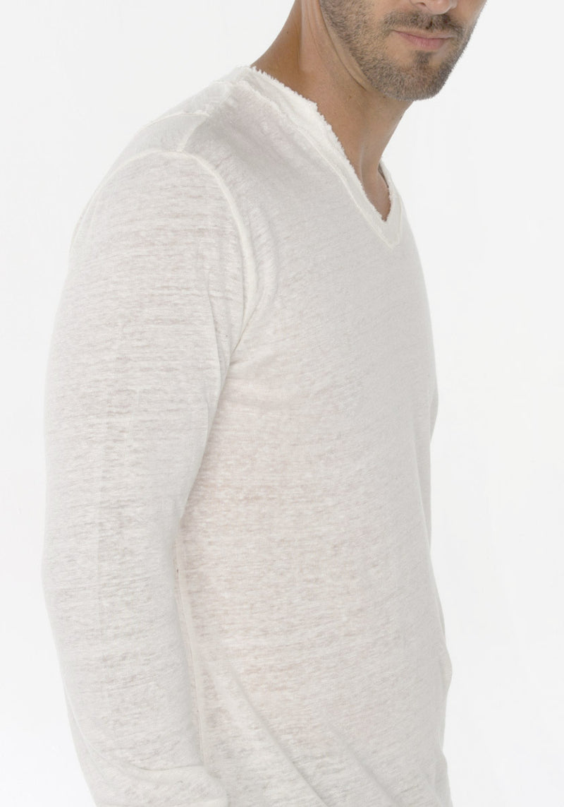JERSEY LINEN FITTED LONG SLEEVE V-NECK T-SHIRT S to XXXL - Claudio Milano