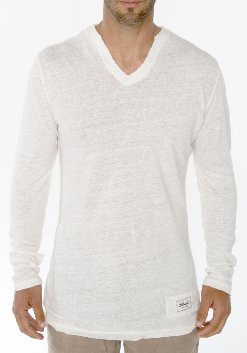 JERSEY LINEN FITTED LONG SLEEVE V-NECK T-SHIRT