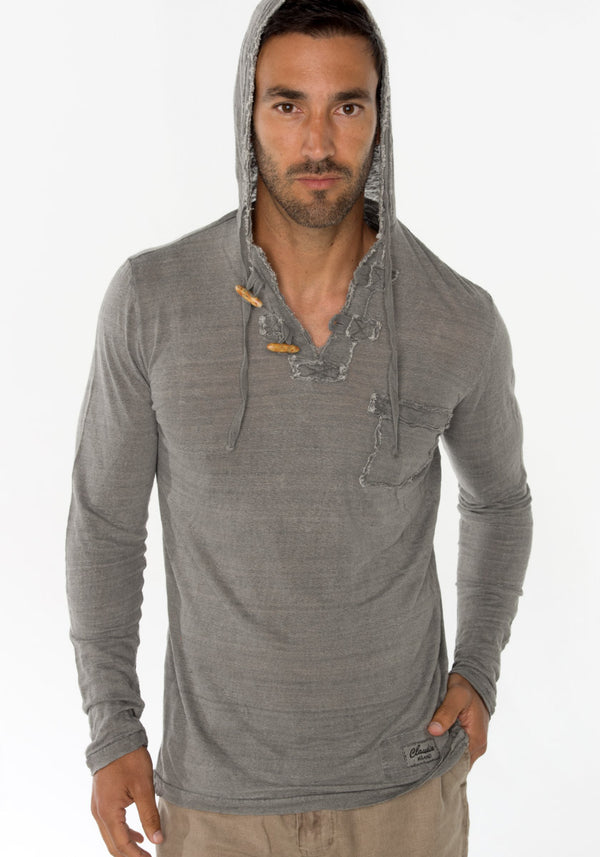 JERSEY LINEN LONG SLEEVE HOODIE T-SHIRT WITH POCKET AND WOODEN FASTENERS S to XXXL - Claudio Milano
