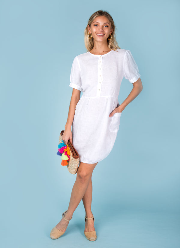 #8387 Aqua Dress Linen for Women Short sleeve teacup linen dress with pockets 100% Natural Italian Style - Available in White, Black, Red, Aqua, Blue, Green