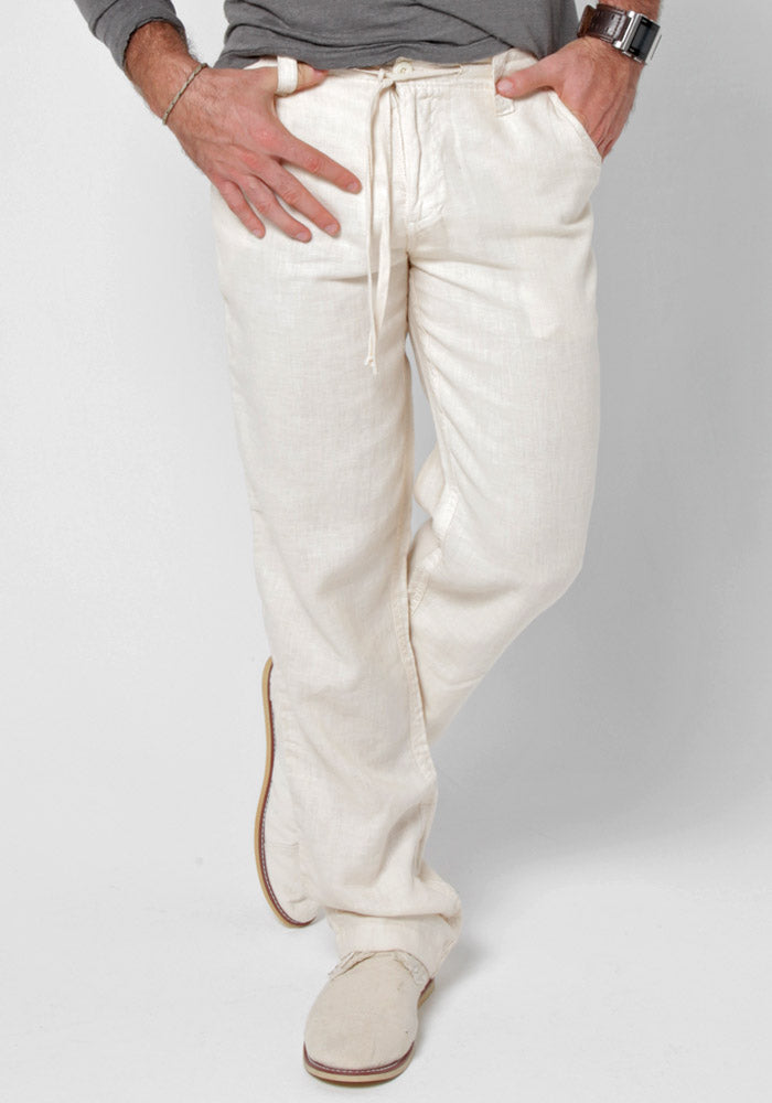 100% LINEN RELAXED PANT WITH DRAWSTRING S to XXXL - Claudio Milano