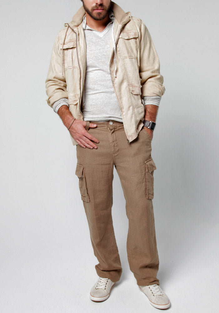 100% LINEN CARGO PANT WITH DRAWSTRING
