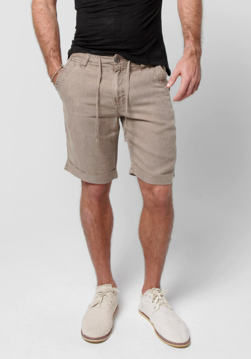 100% LINEN SHORT WITH DRAWSTRING S to XXXL - Claudio Milano