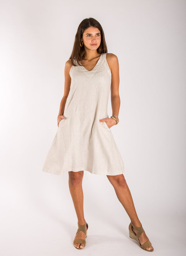#8308 Dress Linen for Women - White, Black, Red, Aqua, Blue, Green All  100% Natural Italian Style Sleeveless V-Neck Dress with Pockets