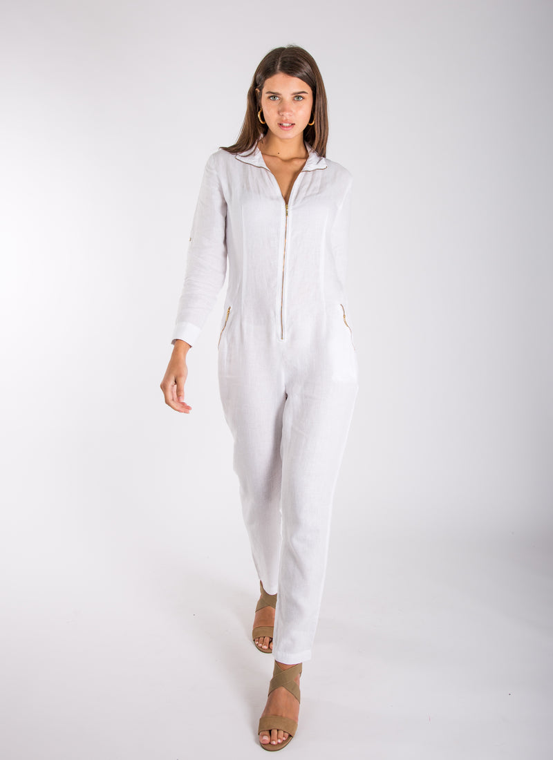 Linen Jumpsuit Natural Italian Style Zip-Up Long Fitted Jumpsuit #8706