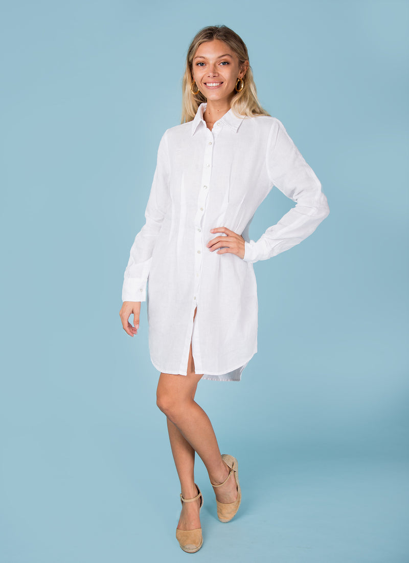 #8395 Dress linen for women white Italian style fitted button down shirt dress available in XS to XXXL (3XL) Sizes