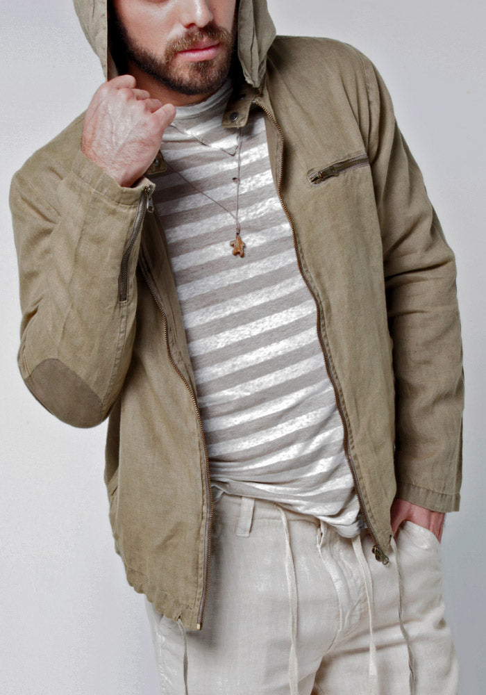 100% LINEN ZIP-UP JACKET WITH DETACHABLE HOODIE