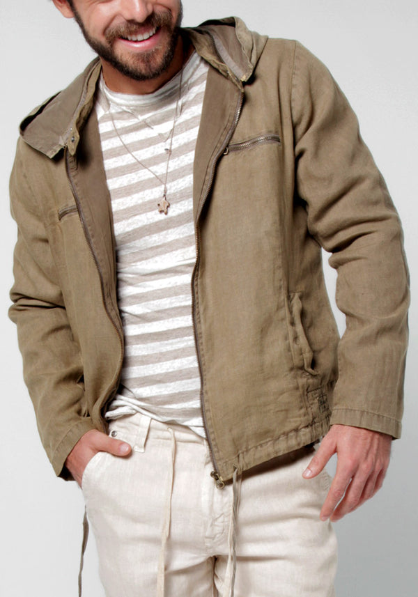 100% LINEN ZIP-UP JACKET WITH DETACHABLE HOODIE S to XXXL - Claudio Milano