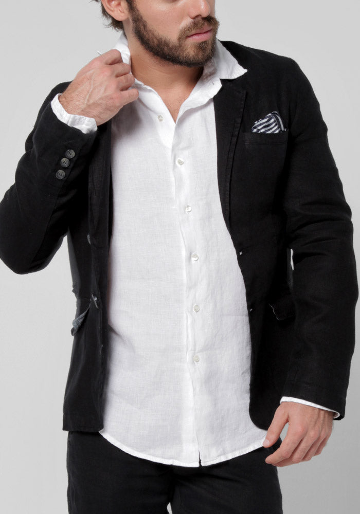 100% LINEN BLAZER WITH LINED POCKET