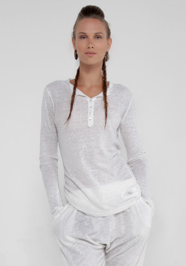 100% Jersey Linen Long Sleeve Henley Tee Shirt in White