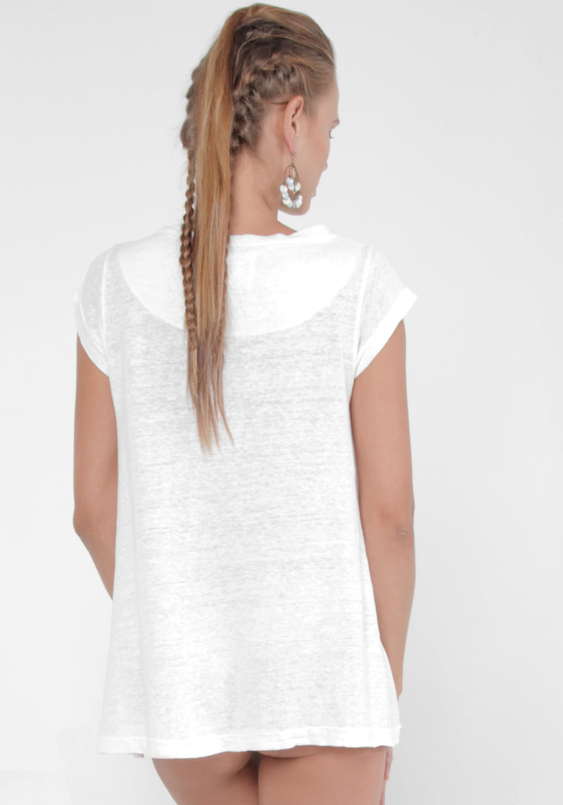100% Jersey Linen T-Shirt in White