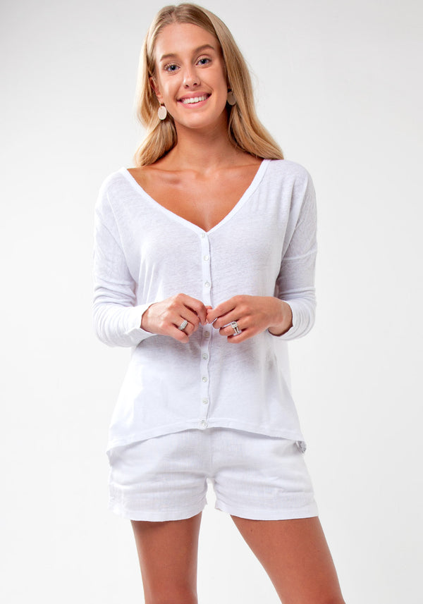 100% Jersey Linen Long Sleeve Cardigan Shirt in White