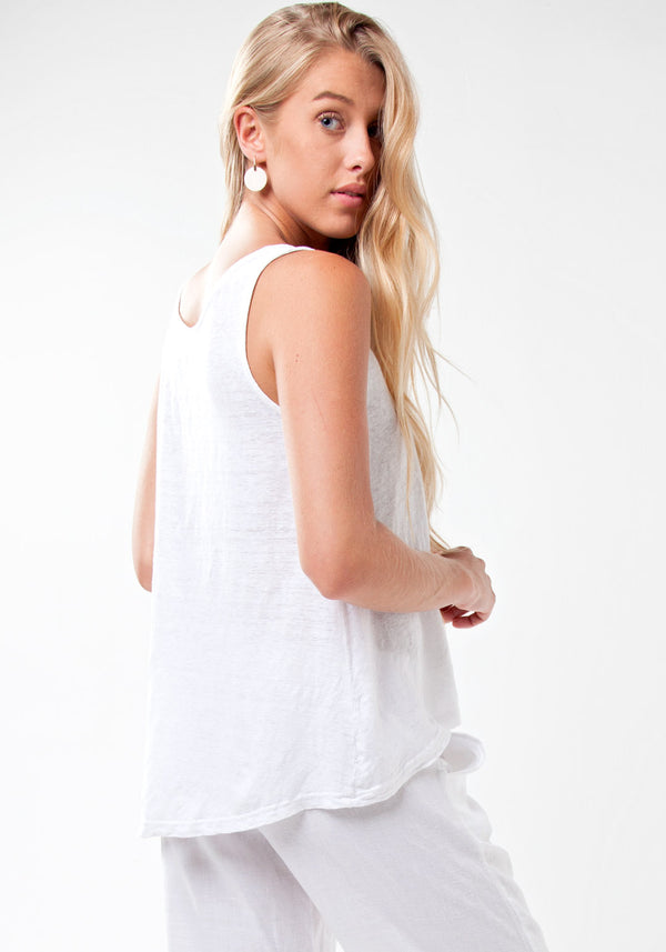 100% Linen Plain Uneven Tank Top in White S to XXXL - Claudio Milano