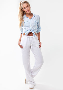 100% Linen Pant with Drawstring Tie in White