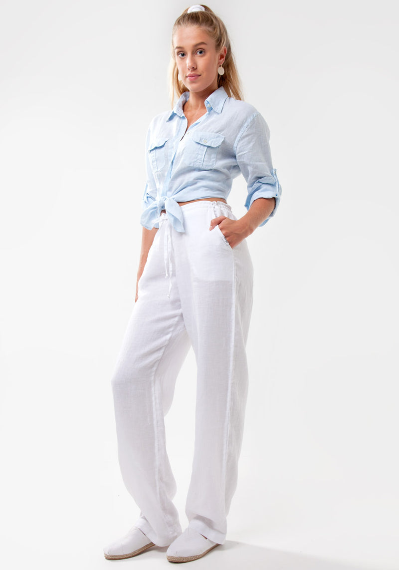 100% Linen Pant with Drawstring Tie in White S to XXXL - Claudio Milano