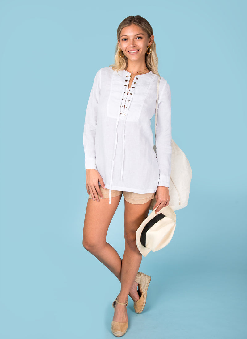 #8066 Italian style cross tie oversize shirt for women Natural Linen clothing 100% organic materials