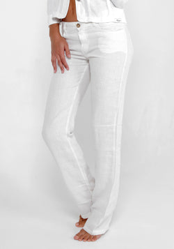 100% Linen Slim 5 Pocket Pant in White