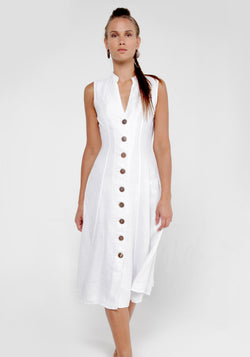 100% Linen Dress with Coconut Buttons and Moa Collar