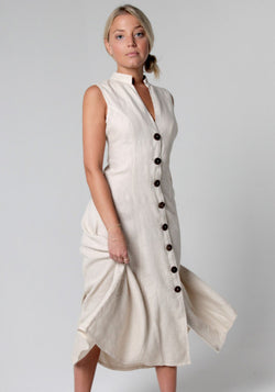 100% Linen Dress with Coconut Buttons and Moa Collar S to XXXL - Claudio Milano