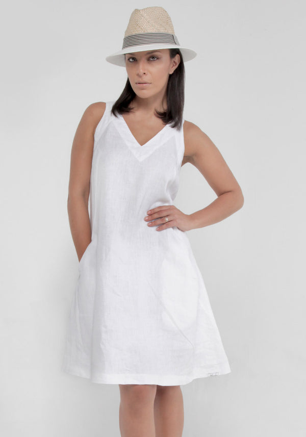 100% Linen Sleeveless V-Neck Dress with Pockets S to XXXL - Claudio Milano
