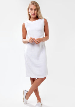 100% Linen Elegant Body-Con Dress with Jewel Neckline in White S to XXXL - Claudio Milano