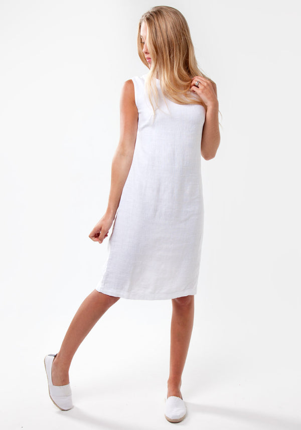 100% Linen Elegant Body-Con Dress with Jewel Neckline in White