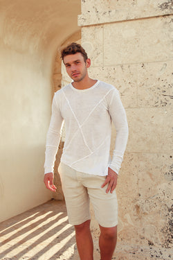 100% JERSEY LINEN LONG SLEEVES SLANTED S to XXXL - Claudio Milano