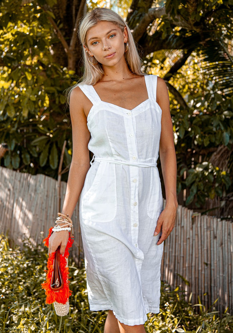 Dress Linen for Women - White, Black, Red, Aqua, Blue, Green All  100% Natural Italian Style BUTTON DOWN TANK DRESS WITH BELT