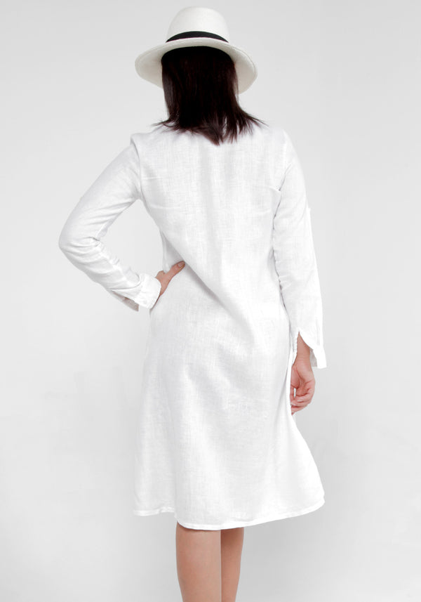 100% Linen Pleated Button-Down Dress in White