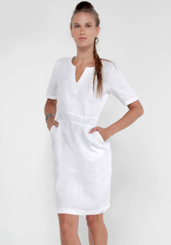 100% Linen V-Neck Dress With Pockets and Half Sleeves in White