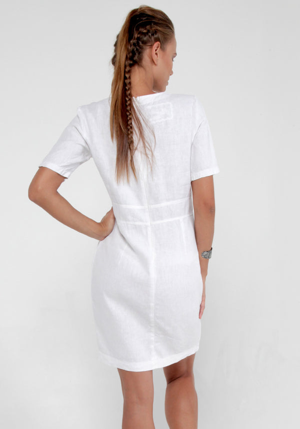 100% Linen V-Neck Dress With Pockets and Half Sleeves in White S to XXXL - Claudio Milano