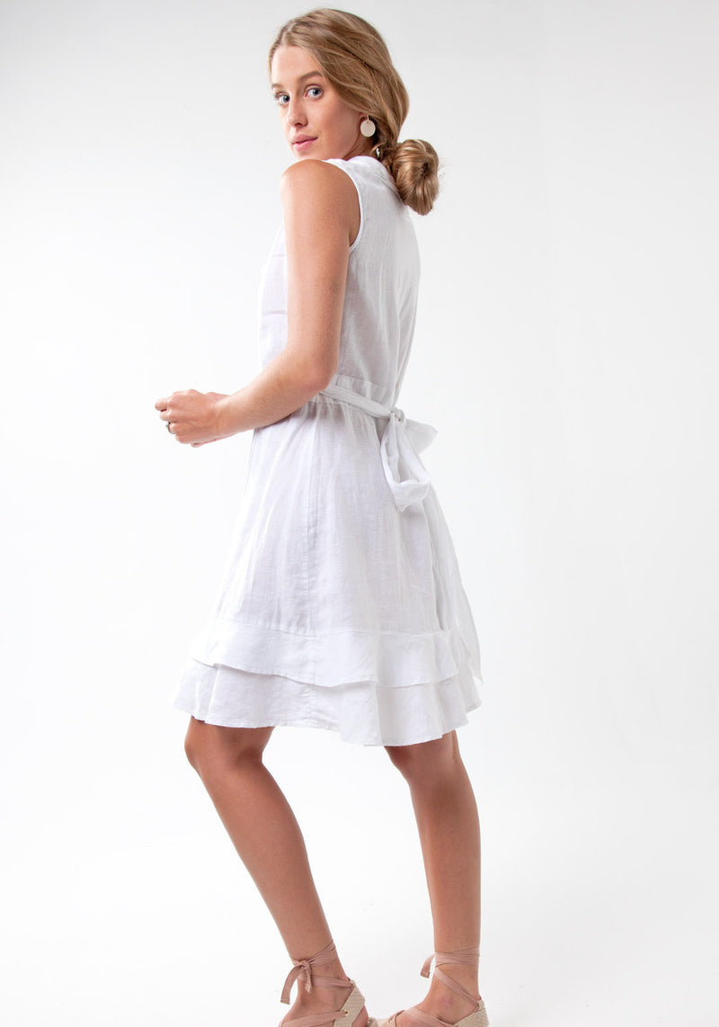 100% Linen Wrap Dress With Soft Ruffles And Waist Tie