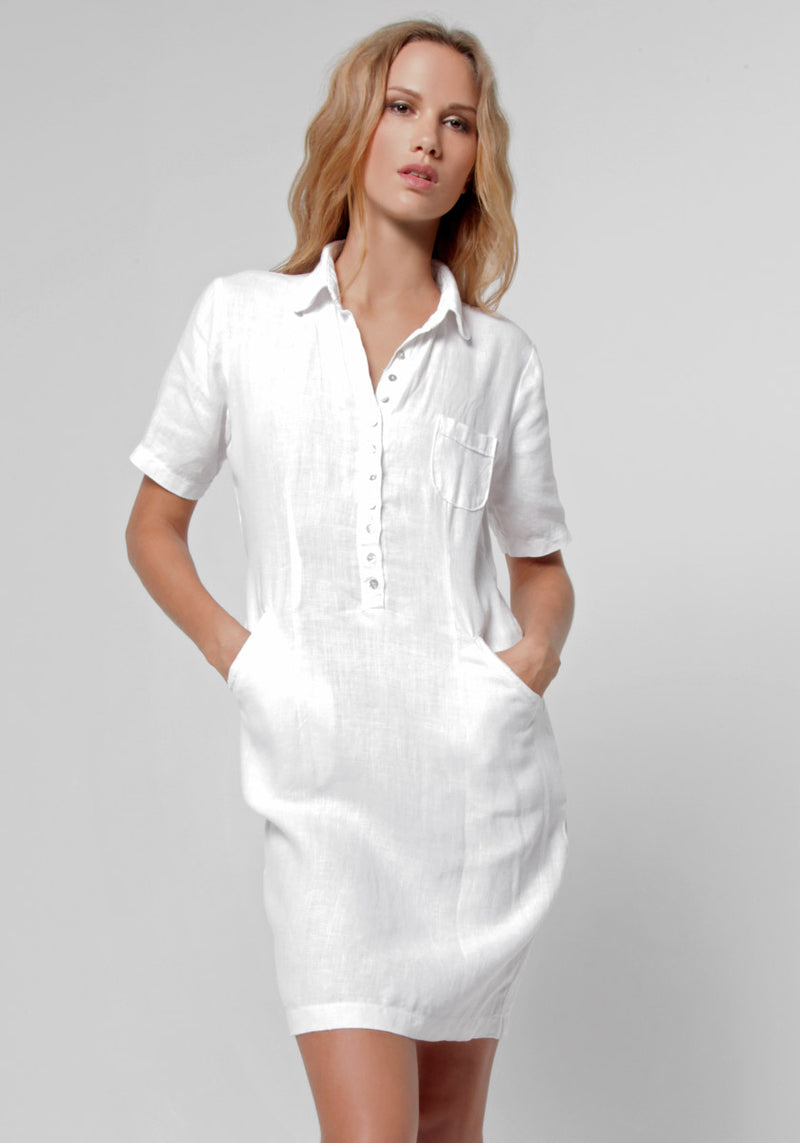 100% Linen Collared Golf Dress With Hidden Pockets S to XXXL - Claudio Milano
