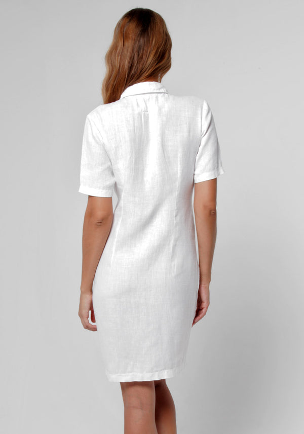 100% Linen Collared Golf Dress With Hidden Pockets in White