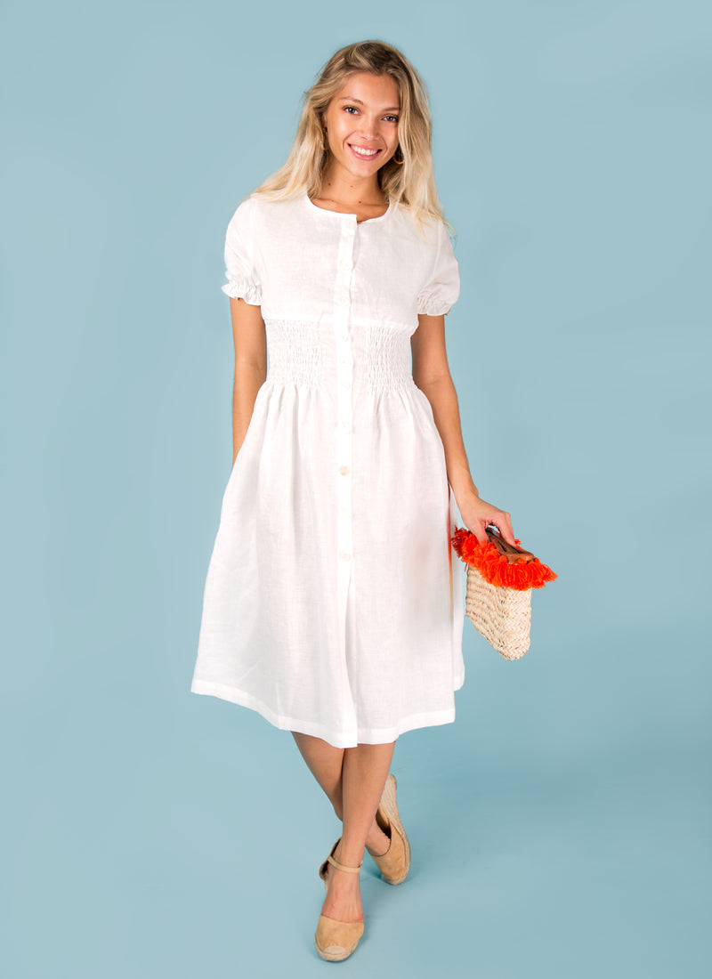 #8393 Dress Linen for Women - White, Aqua, Blue, Green All  100% Natural Italian Style Button Down Short Sleeve Peasant Dress