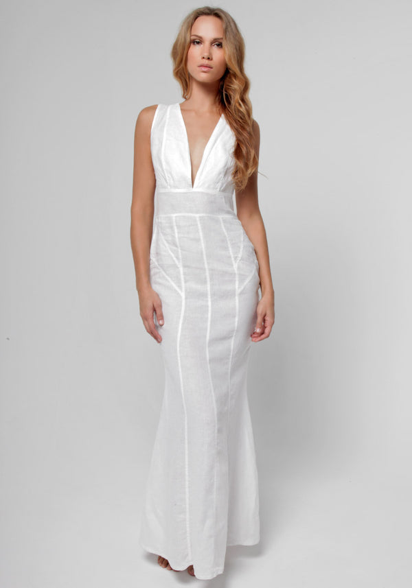 100% Linen Cut & Sew Plunge-Neck Maxi Dress in White S to XXXL - Claudio Milano