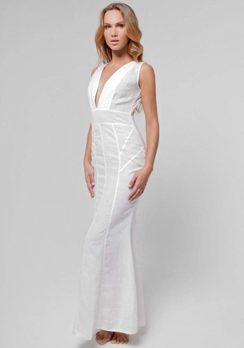 100% Linen Cut & Sew Plunge-Neck Maxi Dress in White