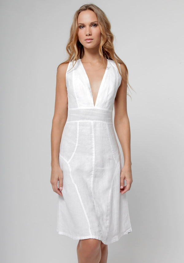 100% Linen Cut & Sew Plunge-Neck Knee-Length Dress in White