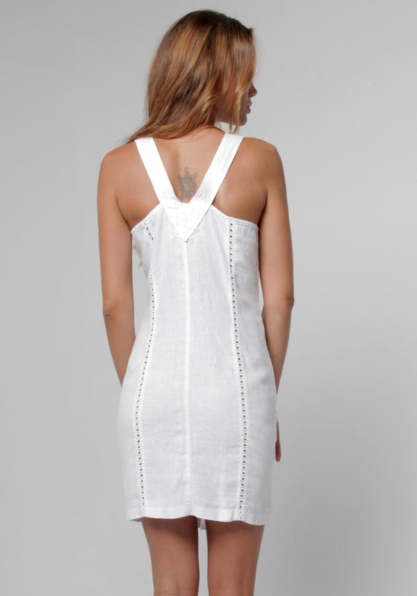 100% Linen Silhouette Dress With Gold Button Closures in White S to XXXL - Claudio Milano