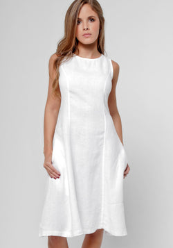 100% Linen Custom Pattern Dress With Hidden Pockets in White