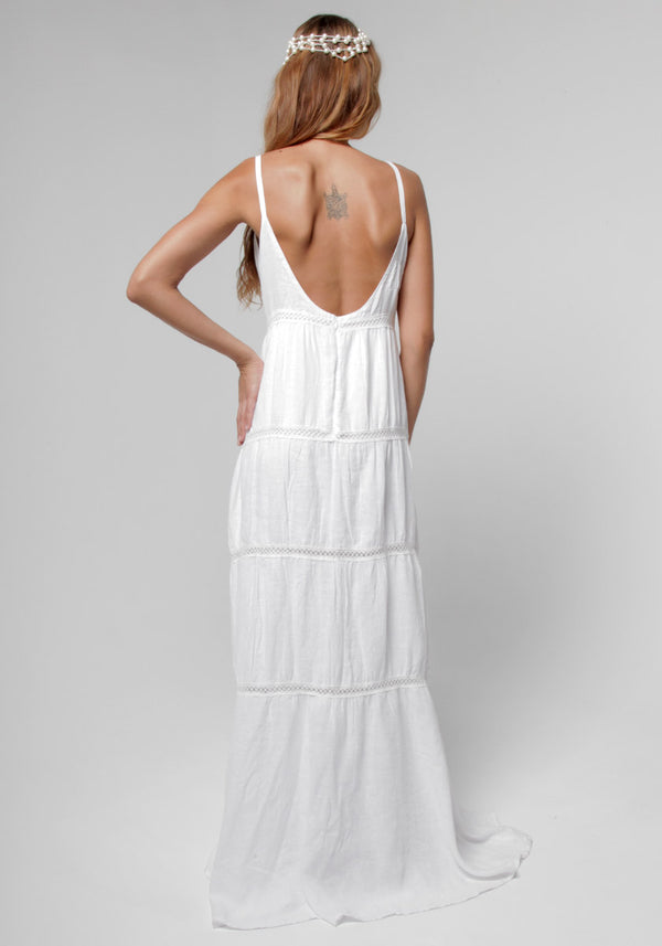 100% Linen Goddess Thin Laced Low-Back Maxi in White