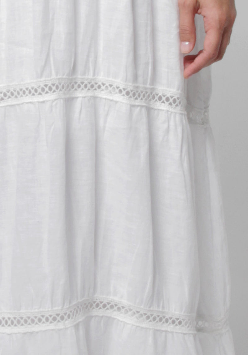 100% Linen Goddess Thin Laced Low-Back Maxi in White S to XXXL - Claudio Milano