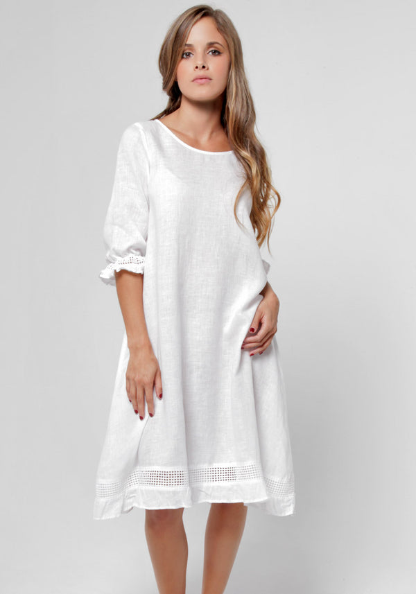 100% Linen Banded 3/4 Sleeve Moo Dress S to XXXL - Claudio Milano