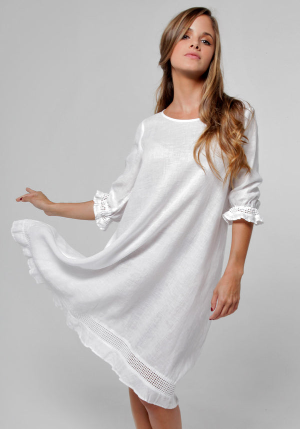 100% Linen Banded 3/4 Sleeve Moo Dress in White
