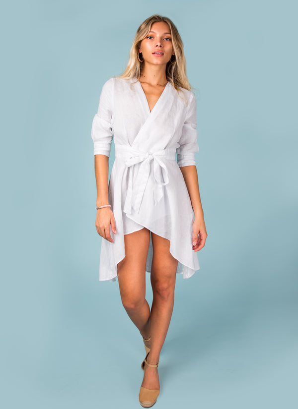 #8062 Linen Dress Women's wrap Tunic Italian Style Clothing 100% Natural Linen Fabric