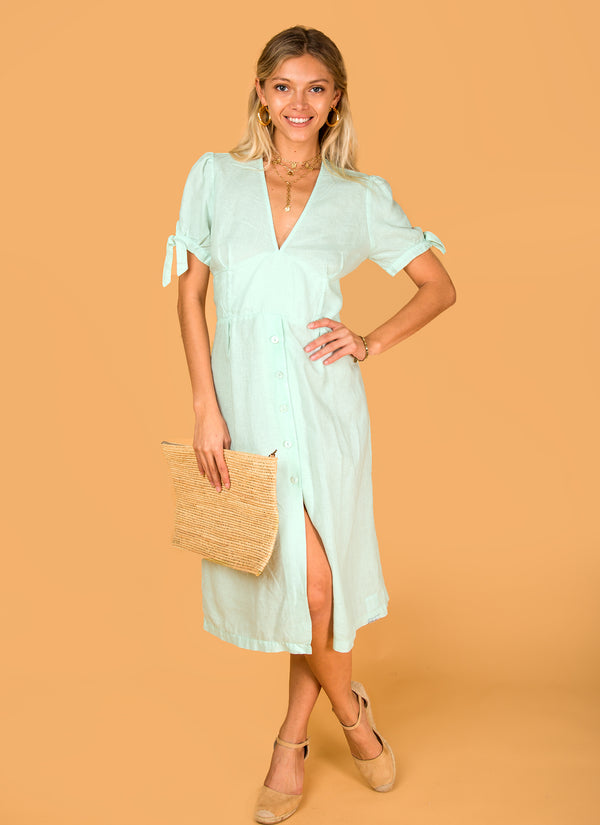 #8394 Dress Linen for Women - White, Aqua, Blue, Green All  100% Natural Italian Style Deep-V Dress With Button Details