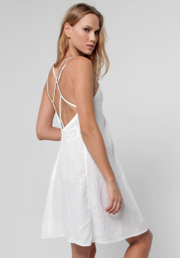 100% Linen Cross Low-Back Thin Strapped A-Line Dress in White