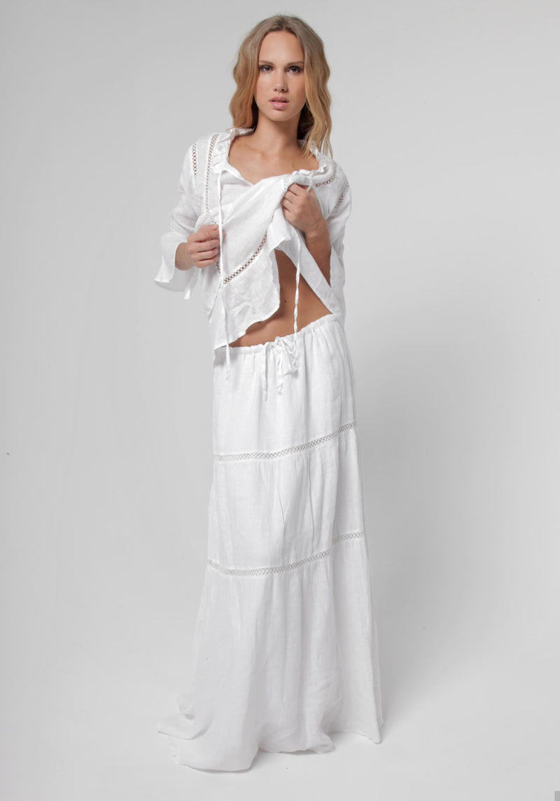 100% Linen Boho Skirt in White S to XXXL - Claudio Milano