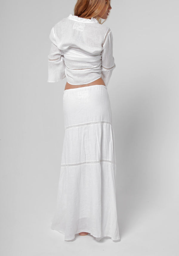 100% Linen Boho Skirt in White